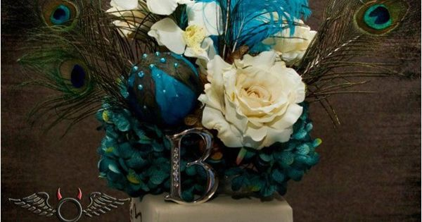 Turquoise and brown with peacock wedding cake topper ..... great colors together