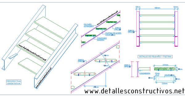 Escalera met lica con pelda os de madera 3 detalles - Escalera metalica prefabricada ...