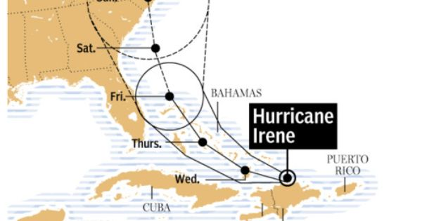 Powerful Hurricane Irene Poised To Hit Southeast US Maps And - Map of cuba and southeast us