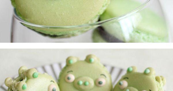 Angry Birds, Green Pigs macarons. This made me giggle. : )