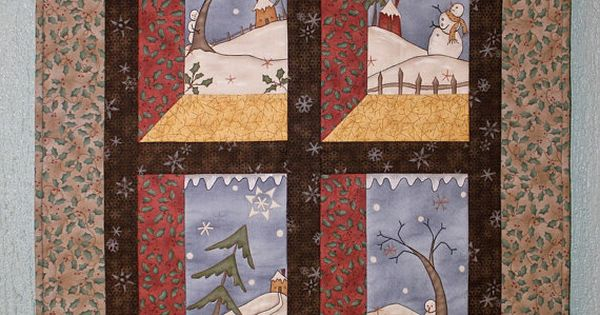 Snowmen Wall Hanging Quilted Wall Hanging Winter Wall