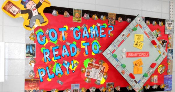 Libraryopoly Game Bulletin Board Each time children check out a library book