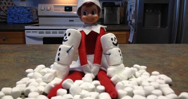 Elf on the Shelf ideas... Marshmallow Snowmen
