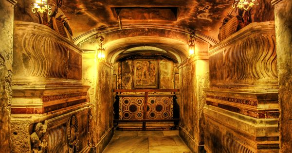 A secret crypt under a church near Pompeii, Italy