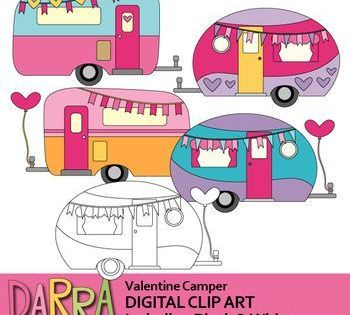 Valentine Camper Clip Art Rv Caravan Clipart
