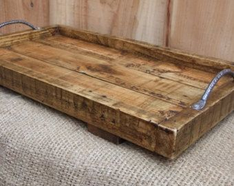 Rustic Kitchen Tray Handmade Wooden Tray Pallet Wood Etsy In 2020 Reclaimed Wood Tray Pallet Wood Tray Rustic Serving Trays