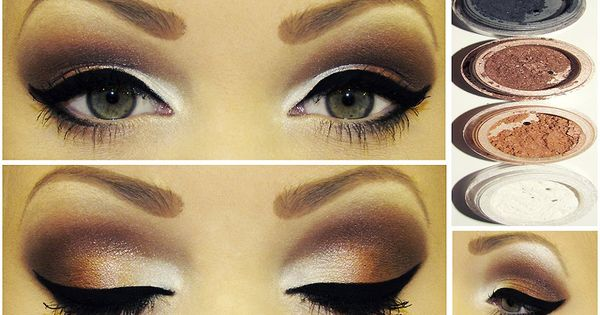 brown smokey eye and white highlighting wedding makeup