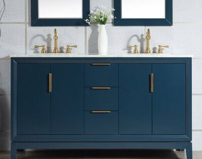 Tappahannock 60 Double Bathroom Vanity Set Base Finish Monarch Blue Faucet Style Waterfall In 2020 Single Bathroom Vanity Double Vanity Vanity