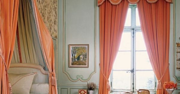 French Decor With A Twist Orange Curtains This Is Timothy Corrigan 39 S Chateau In France