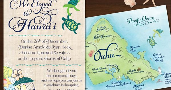 Beach Wedding Ceremony Oahu: Honu Love Oahu Hawai'i Elopement Announcement By Compass