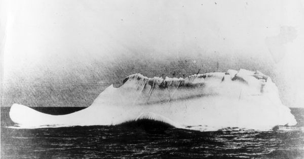 Iceberg believed to have hit the Titanic. Picture from the Western Union