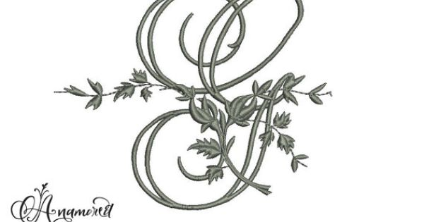 letter g fancy vine  floral embroidery letter by anamored