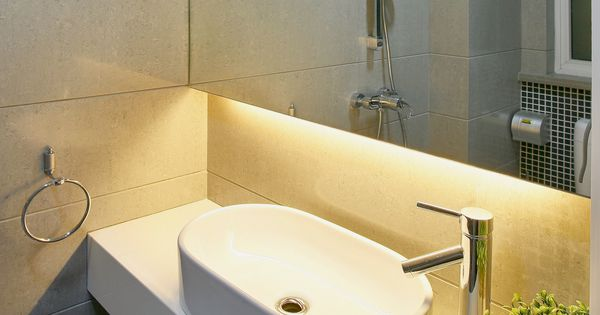 Beautiful Under-Cabinet Bathroom Lighting Created By Using