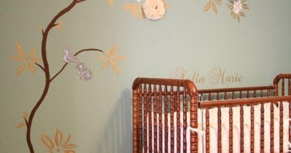 Baby Girl nursery idea with 3-D fabric flowers