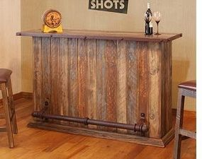Rustic Multicolor Bar With Iron Footrest Rustic Bar Bars For Home Wood Bars