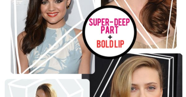 Love a deep side part paired with a bold lip! Have the