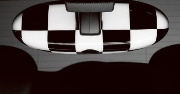 mini interior mirror cover checkered flag mini cooper car accessories pinterest interior. Black Bedroom Furniture Sets. Home Design Ideas