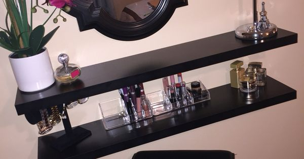 My Very Own Diy Vanity I Made Using Floating Shelves My