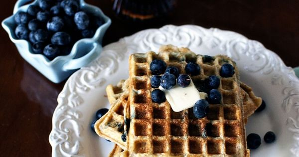 Waffles, Sour cream and Blueberries on Pinterest