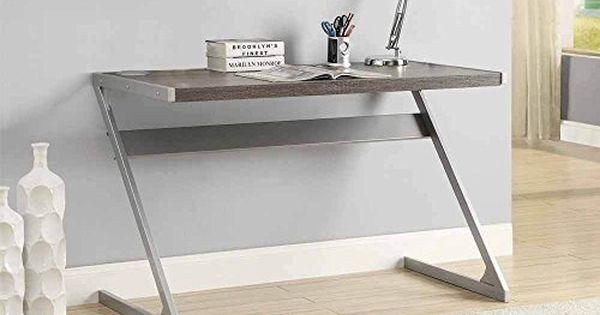 1perfectchoice Modern Bluetooth Speaker Computer Writing Desk Weathered Grey Top Metal Z Base Desk Writing Desk Kitchen Layout