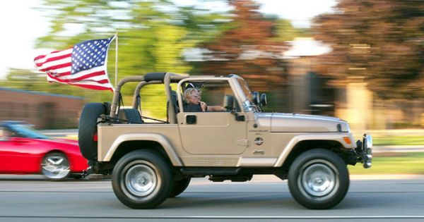 All American Jeep With Us Flag Jeep Brand Jeep Wrangler Tj