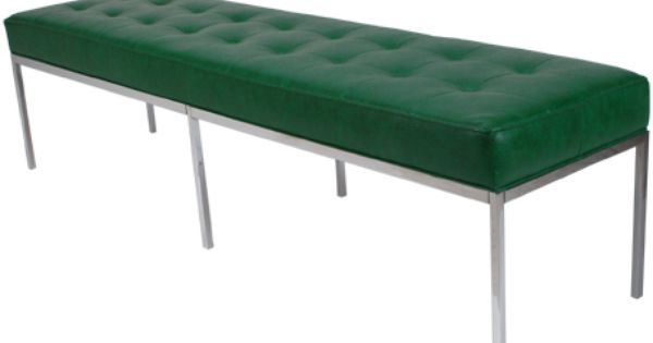 Florence Knoll Bench Square Chrome Legs And Frame With Tufted Seat Green Simulated Leather And Chrome Knoll Bench Florence Knoll Bench Home Decor