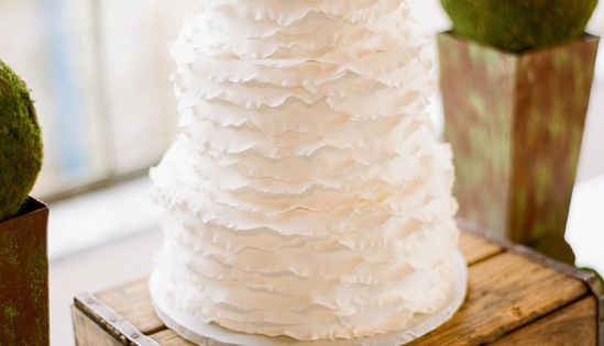 White ruffled wedding cake *Note to WOW Cakes: especially like the texture