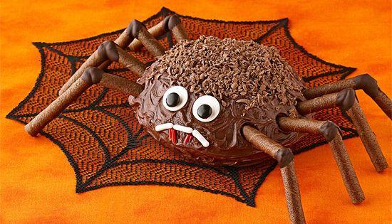 Chocolate Spider Cake! Recipe: http://www.bhg.com/recipe/cakes/scary-spider-cake/?socsrc=bhgpin090312spidercake