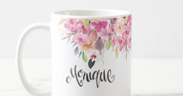 Custom Name Mug Watercolor Flowers Diy Cyo Customize Create Your