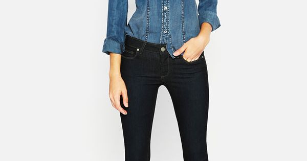 Trouvé Faded Denim Shirt & Paige Stretch Skinny Jeans FallTrend Nordstrom Love