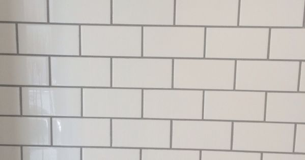 White Subway Tile With Delorean Grey Grout With Moen