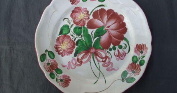 Ancienne plat grande assiette faience strasbourg faience for Comfaience de strasbourg