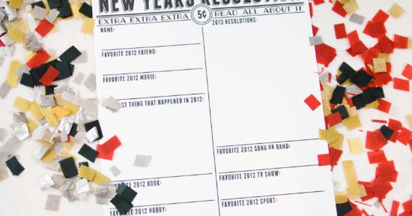 New Year's Resolutions Printable ~ Print out the printable on a standard