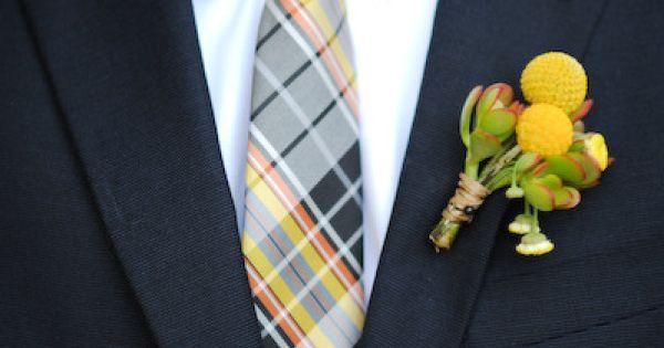 plaid tie yellow flower