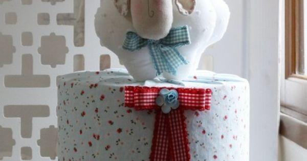 Bolo Fake Tecido Ovelhinha Fabric Cake Bolo Tecido Pinterest D And Bolo Fake