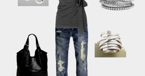 Casual Outfit but I can't do distressed jeans! Need a wrap shirt