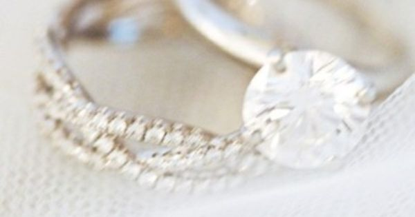 simple engagement ring band and diamond wedding band. Liking this idea with