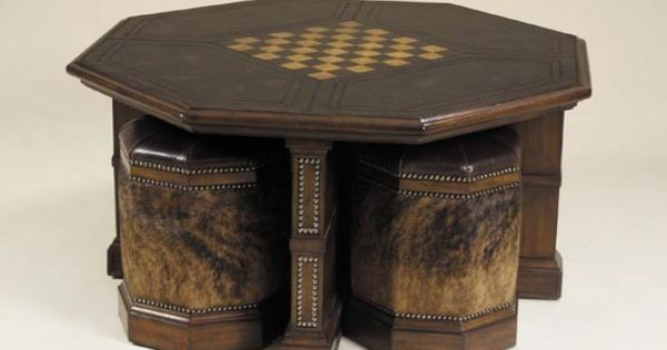 Maitland Smith Coffee Table With Four Stools Game Rec