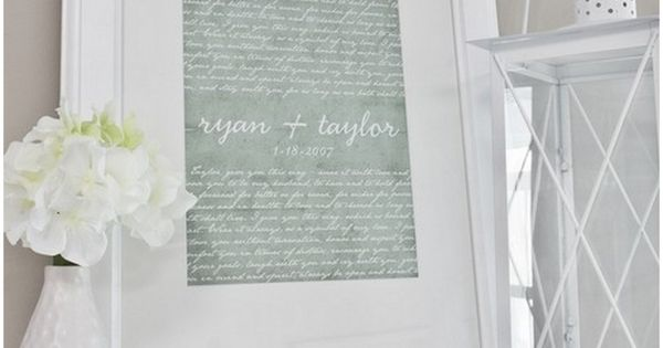 framed vows and first dance song. would make a nice 1 yr