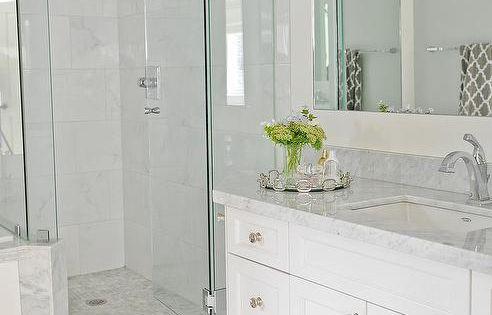 Going For This Look Light Grey Floor Tiles White Vanity