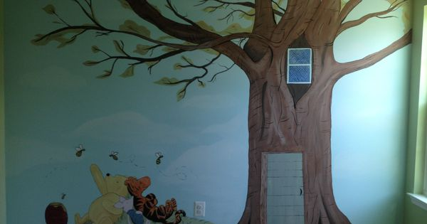 Classic winnie the pooh nursery wall mural baby d for Classic pooh mural