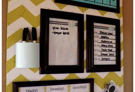 Organization Board {Coffee & a Clever Idea} cover cork in fabric hang calendar, dry erase board, frames, office supply holder etc