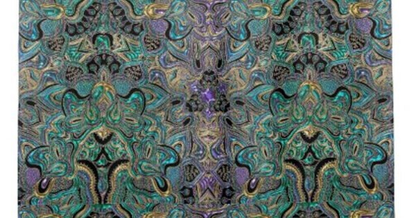 Teal Gold Purple Black Mandala Shower Curtain Purple Floral