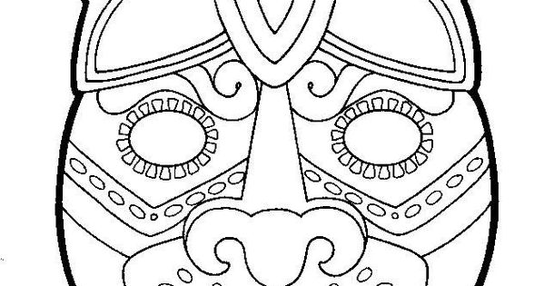 aztec mask coloring pages
