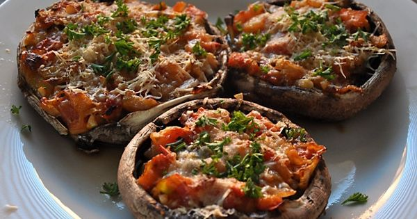 #paleo Portabella Pizzas; keep the grated parmegiano cheese to a minimum or