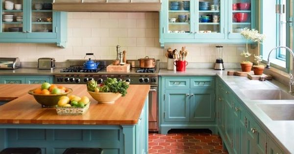 kitchen laminate cabinets vibrant turquoise and terracotta in this expansive kitchen 2112