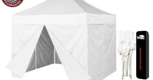 Eurmax 10 X 10 Ez Pop Up Canopy Party Tent Instant Outdoor Gazebo With 4 Removable Zipper End Sidewalls Walls With Dust Cov Pop Up Canopy Tent Canopy Tent Tent