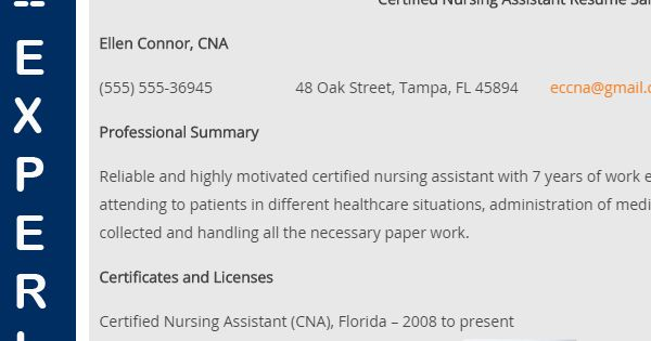 CNA Sample Resume for Experienced Resume, Tips and Sample resume