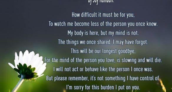 I Hate My Mom Poem: Alzheimer's Poem: I Understand By Joy Rembert