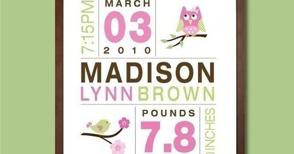 Easy to make. Great gift. Birth announcement art